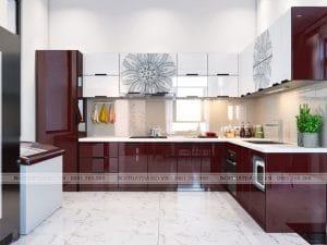 Tủ bếp inox cánh kính cường lực 04